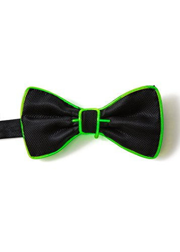 [EL Wire Light Up Party Fashion Tie Bow Ties - Various Colors by Mammoth Sales (Green)] (Super Easy Last Minute Halloween Costumes)