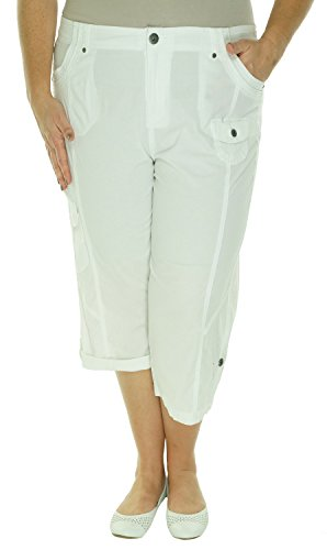 Style & Co. Womens Plus Relaxed Fit Flat Front Capri Pants White 24W