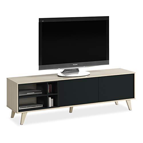 Habitdesign 0Z6635R - Mueble de TV, Acabado Color Roble y Gris Oscuro, Medidas 180 cm (Largo) x 54 cm (Alto) x 41 cm (Fondo)