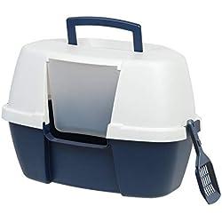 IRIS Large Hooded Corner Litter Box with Scoop, Navy