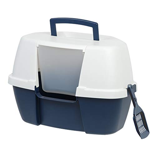 IRIS Large Hooded Corner Litter Box with Scoop, Navy
