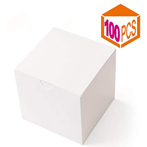 (MESHA Gift Boxes 3 x 3 x 3 Inches, White Paper White Boxes with Lids for Gifts, Crafting, Cupcake Packaging Boxes (100))