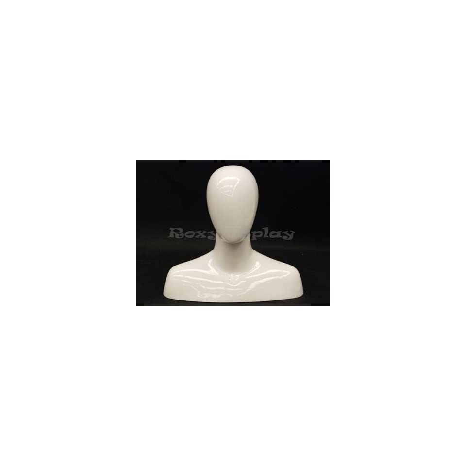 (MD MEGGW) Glossy White Male Egg Head Mannequin Abstract Style