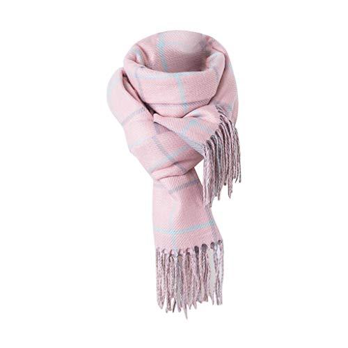 iFOMO Winter Warm Trendy Wild Chunky Tassel Plaid Scarf for Women(Pink,180x70CM) from iFOMO