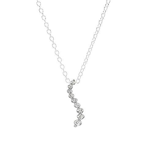 (Dazzlingrock Collection 0.16 Carat (ctw) 10K Round Diamond Ladies Journey of Life Pendant, White Gold)