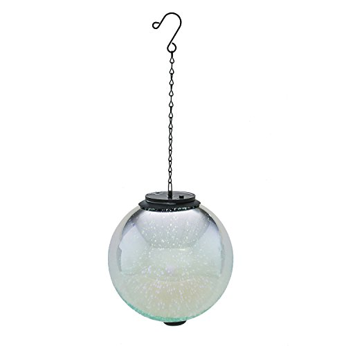 Evergreen Stargazing Silver Hanging 8-inch Solar Powered - Fire Evergreen Glass
