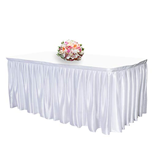 JINSEY 14 ft Shimmer Polyester Table Skirt Rectangle Tables Ruffle Table Cloth Wedding, Party, Hotel - - Skirts Polyester Table 100%