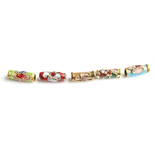 Hearts shop 50 PCS Colorful Cylindric Flower Tube Enamel Cloisonne Beads Fit Jewelry Making