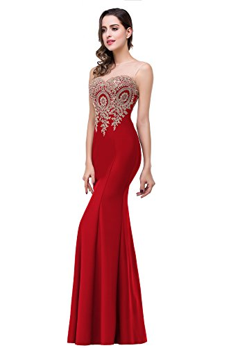 2016 Sweetheart lace red Mermaid Evening Formal Bridesmaid dress,Red,14