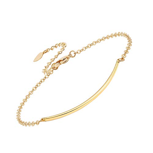 PERNNLA PEARL Dainty Gold Bar Bracelet for Women Minimalist Simple Delicate 18K Gold Plated Chain Handmade Jewelry Gifts