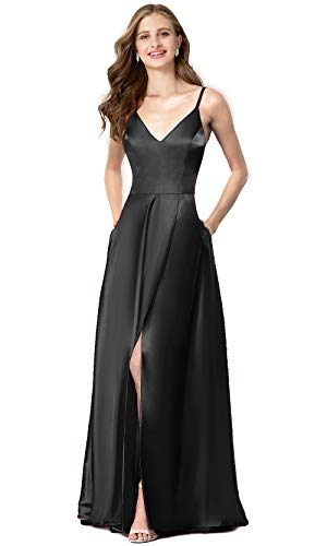 Valiamcep Womens Strap V Neck Prom Dresses Homecoming Long 2019 Satin Evening Ball Gowns with Pocket (Black, M)