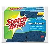 Non-Scratch Multi-Purpose Scrub Sponge, 4 2/5 x 2 3/5 Inch, Blue, 6/Pack by Scotch-Brite
