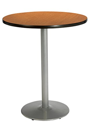 (KFI Seating Round Bar Height Pedestal Table with Round Silver Base, Commercial Grade, 42-Inch, Medium Oak Laminate, Made in the USA)