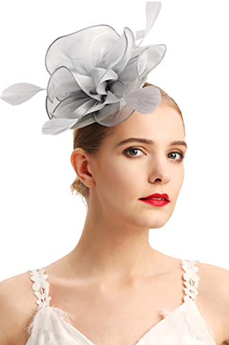 Czioe Flower Cocktail Tea Party Headwear Feather Fascinators Top Hat for Girls and Women(2-silver grey)]()