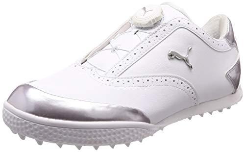PUMA Japan Monolite Cat Disk BOA Golf Shoes, Women's, White-Silver, 24.5cm (US 8.0)