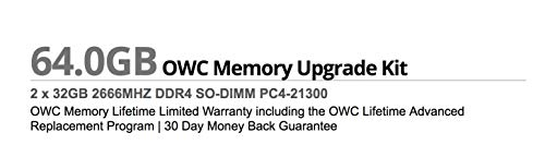 OWC 64GB (2 x 32GB) 2666MHz DDR4 PC4-21300 SO-DIMM 260 Pin Memory Upgrade, (OWC2666DDR4S64P), for 2019-2020 27 inch iMac (iMac19,1 iMac20,1 iMac20,2) and PC laptops