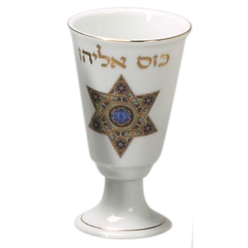 Passover Porcelain Elijah Cup With Oriental Star Of David Design
