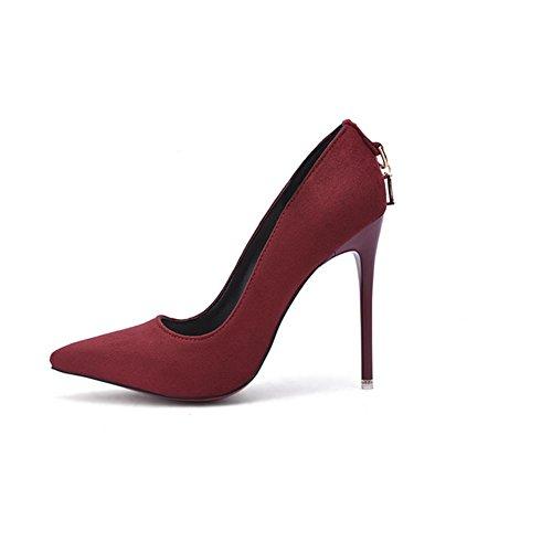 rosso blu XIAOGANG 41 con rosa HQuattro sciarpa nero vino usura stagioni H tacchi donne red opaca alti wine Fine UqxH0X
