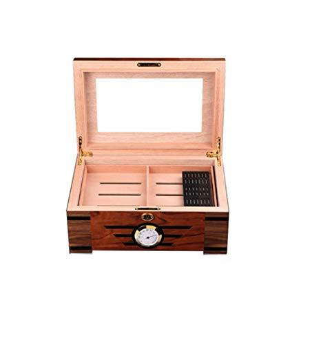 LHFJ Cigar Humidor Cedar Wooden Cigar Organiser with Hygrometer Humidifier Capacity 100