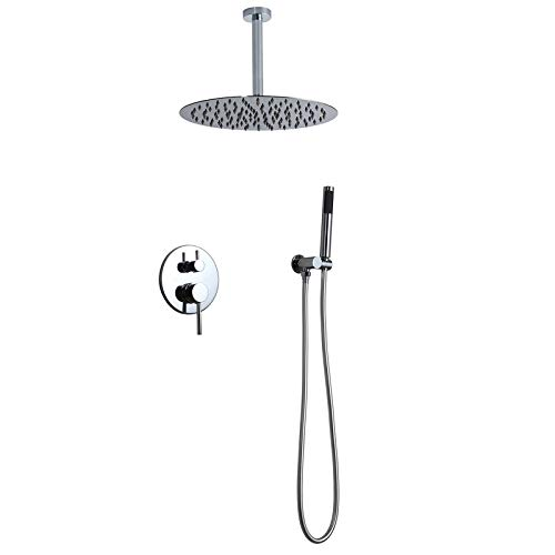 Homary Contemporary Single Handle Wall Mount Shower Combo System High Pressure with 12