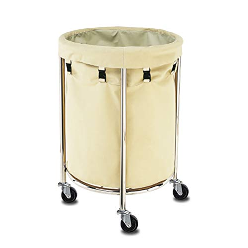 Medical Cart Tool Mobile Linen Car for Hotel, Round Collection Trolley Cart for Lobby, Room Service Cart with Universal Wheel, Beige (Color : L-60×80cm)