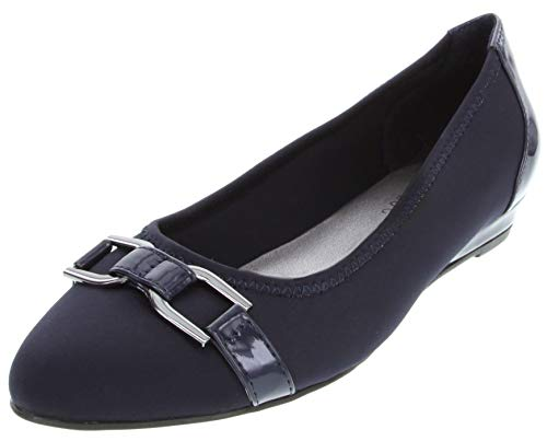 London Fog Womens Chelsea3 Demi-Wedge Dress Shoe Navy 11