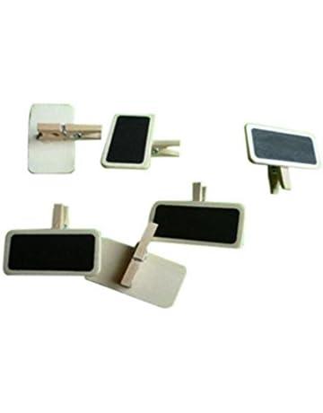 TrifyCore 10pcs Mini Mensaje Madera Nota Pizarra Foto Paper Clips Lindos, Ideal para decoración de