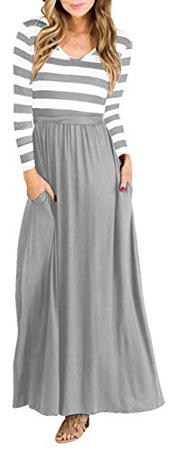 (PinUp Angel Gray Women Striped Long Sleeve Tunic Vintage Casual Maxi Dress with Pockets)