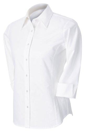 Devon & Jones Ladies 3/4 Sleeve Stretch Poplin Blouse, 2XL, WHITE (Blouse Cotton Poplin Stretch)