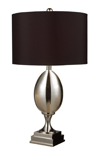 Dimond D1426B Waverly Table Lamp, Chrome Plated Glass With Black Shade