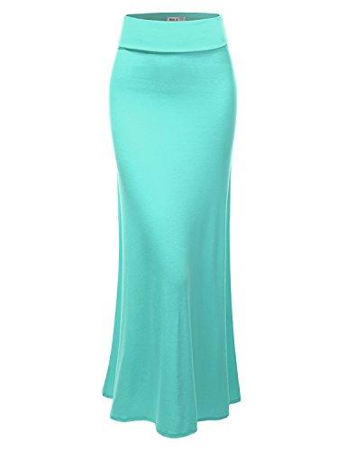 Doublju Women Trendy Solid Color Regular Fit Self-Banded Maxi Skirt BLUE,3XL
