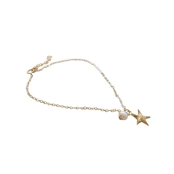 WeiMay 1 x Lovely Starfish Shape cavigliera perla sandalo a piedi nudi accessori da spiaggia piede gioielli 1 spesavip