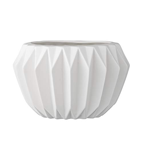 Bloomingville A21900018 Round White Fluted Ceramic Flower Pot - Fluted Ceramic
