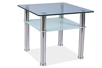 Couchtisch Chrom Glas ~ Glastisch pedro c couchtisch chrom glas 60x60 höhe 50cm: amazon.de