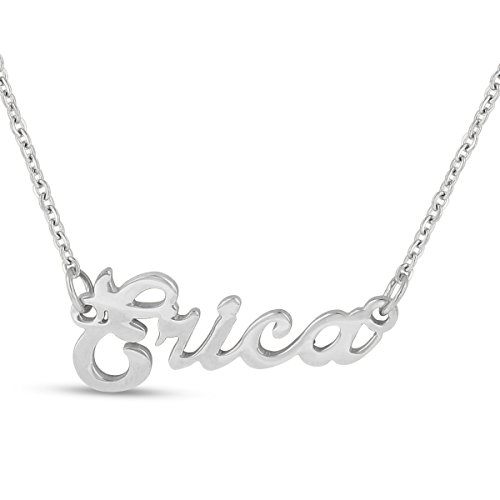 Erica Nameplate Necklace In Silver Tone