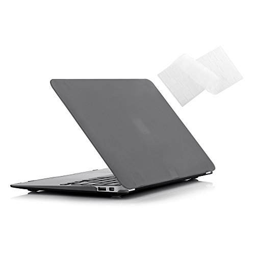 (Ruban MacBook Air 13 Inch Case - Fits Previous Generations A1466 / A1369 (Will Not Fit 2018 MacBook Air 13 with Touch ID), Slim Snap On Hard Shell Protective Cover and Keyboard Cover,Grey)