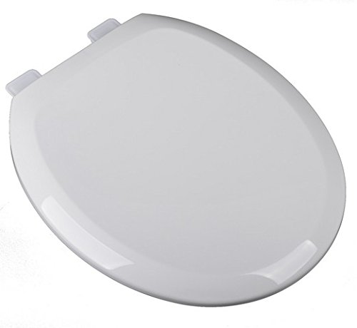 Bath Décor 2F1R8-00 Premium Plastic Slow Close Round Top Mount Toilet Seat with Adjustable Release and Clean Hinge