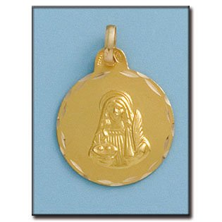 Médaille D'or 18kt Santa Lucia 21mm