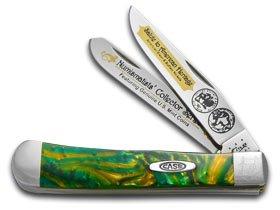 Case Cutlery CAT-BUF/CE Case's Buffalo Nickel Corelon Handel Trapper Pocket Knife with Tru Sharp Surgical Steel Blades, Cats Eye (Case Knife Gift Set)