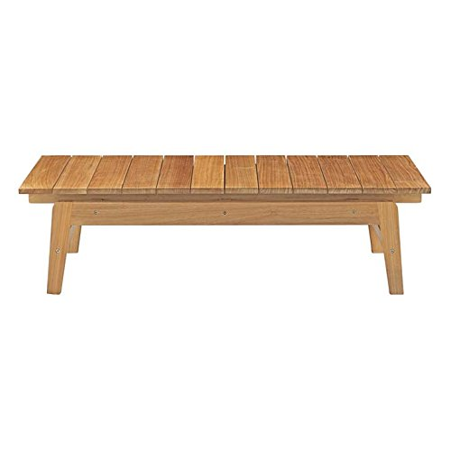 Modway Bayport Teak Wood Outdoor Patio Coffee Table in Natural
