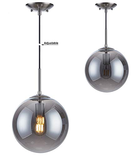 Doraimi 1-Light Modern Simple,Stem Hanging Pendant,Brushed Nickel Finish with Smoky Gray Glass for Bar, Dining Room, Corridor,Living Room, LED Bulb(not Include) -Dia 10