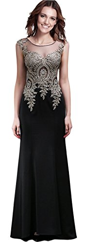 Rongstore Women's Mermaid Long Women Formal Evening Party Dresses Black US6