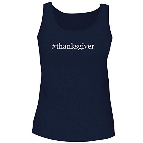 BH Cool Designs #Thanksgiver - Cute Women's Graphic Tank Top, Navy, X-Large