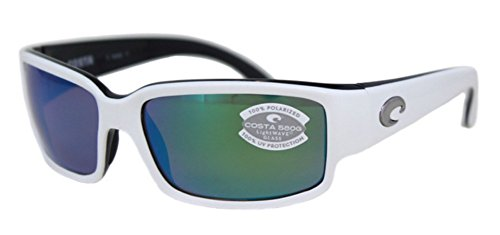 Costa Del Mar Caballito Sunglass, White/Black/Green Mirror - Sunglasses Caballito Costa