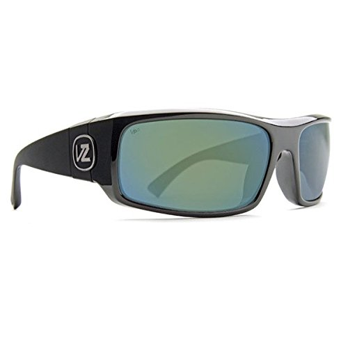 VonZipper Kickstand  Rectangular Sunglasses,Black Gloss, Green & Chrome,One Size - Kickstand Black Gloss