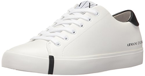 A|X Armani Exchange Women's Eco Leather Low Top Sneaker, Optical White, 5 M US by A|X Armani Exchange