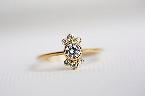 1/4 Ct Round Diamond Flower (Diamond Engagement Ring, Round Diamond Ring, Dainty Diamond Ring, 0.25 carat Diamond Ring, 18k Solid)