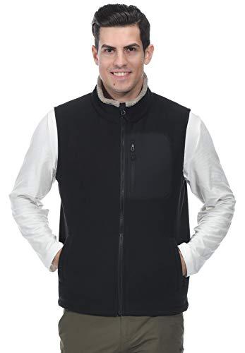 - MIER Men's Full-Zip Soft Polar Fleece Vest Warm Sleeveless Fleece Outerwear Jacket with 5 Pockets, Black, XXL