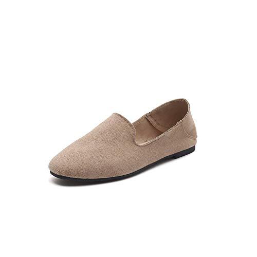 38 Chaussures On Eu Noir Kaki Suede Qiusa Ballets Taille Slip coloré Femme Flats Faux Casual xOw1w8ZqH