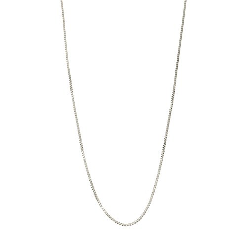 10k White Gold Italian 0.50mm Box Chain Necklace, 24